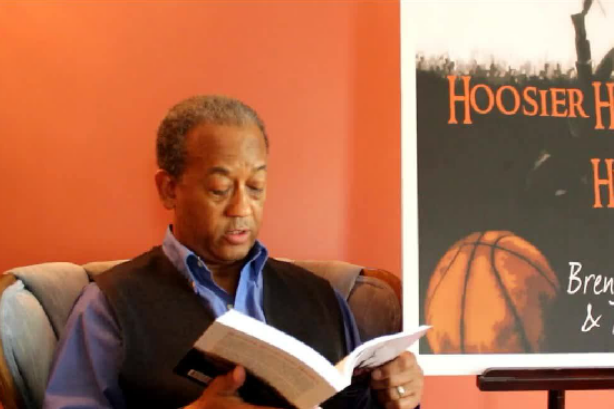 MB Dabney reading from Hoosier Hoops & Hijinks